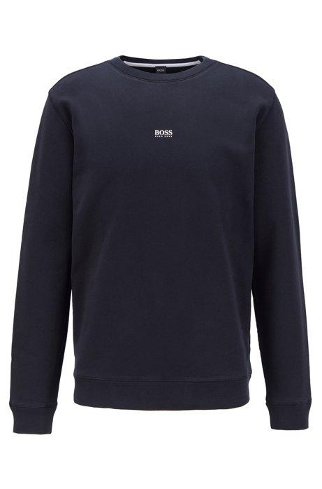 Sweatshirt aus Baumwoll-Mix mit Terry-Struktur, Schwarz