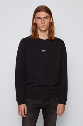 Relaxed-fit sweatshirt in cotton-blend terry, Black