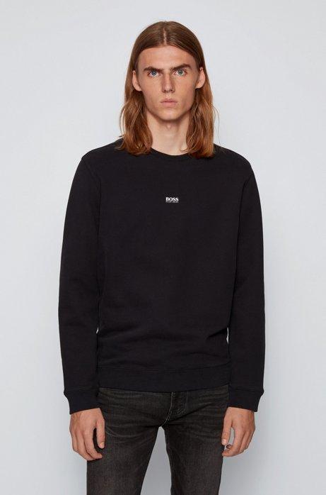 Relaxed-fit sweater van badstof van een katoenmix, Zwart