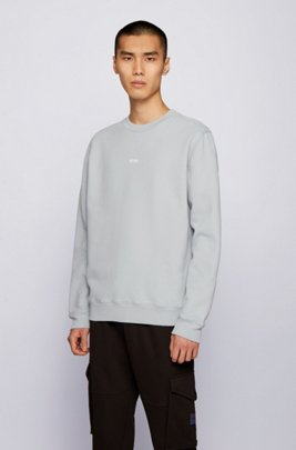 Sweat Relaxed Fit en molleton de coton mélangé, Gris chiné
