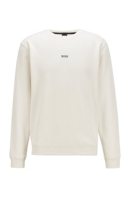 Relaxed-fit sweatshirt in cotton-blend terry, White