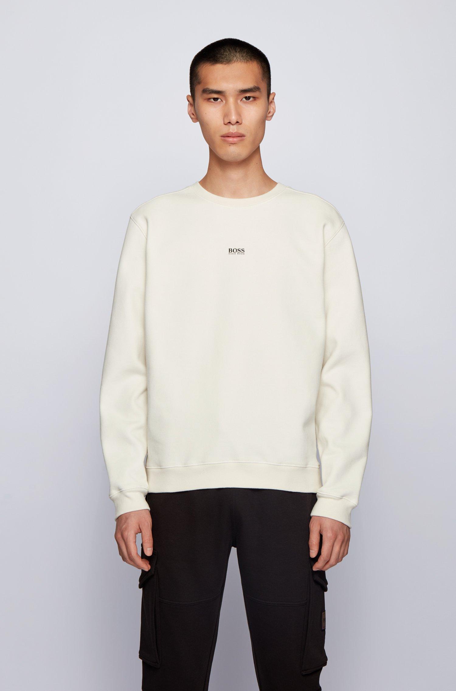 Relaxed-fit sweater van badstof van een katoenmix, Wit