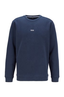 Relaxed-fit sweatshirt in cotton-blend terry, Dark Blue