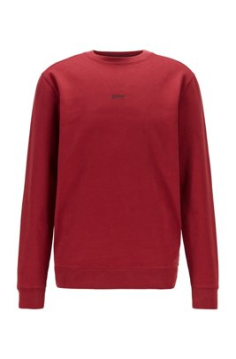 Relaxed-fit sweatshirt in cotton-blend terry, Dark Red