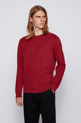 Sweat Relaxed Fit en molleton de coton mélangé, Rouge sombre