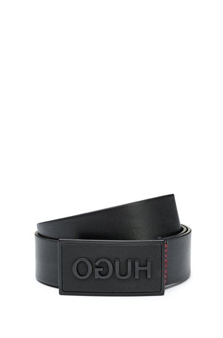 Italian-leather belt with reverse-logo buckle, Black