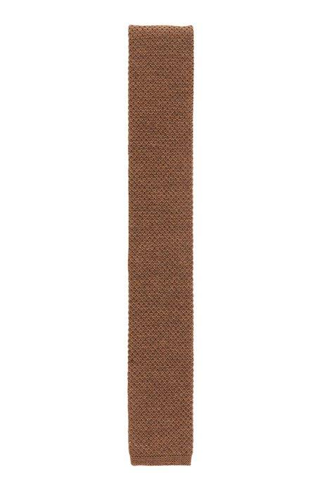 Italian-made wool tie in knitted piqué, Beige