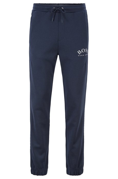 Slim-fit jogging trousers with logo and cuffed hems, Dark Blue