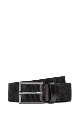 Italian-made belt in fabric and vegetable-tanned leather , Black