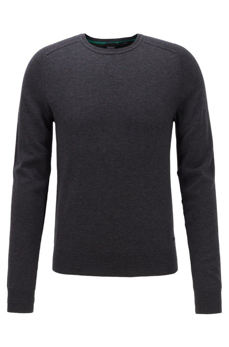 Slim-fit sweater in cotton with reverse-stitch details, Anthracite