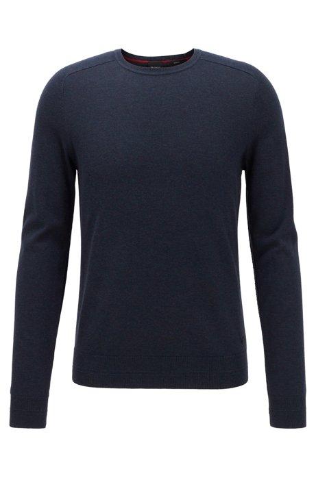 Slim-fit sweater in cotton with reverse-stitch details, Dark Blue
