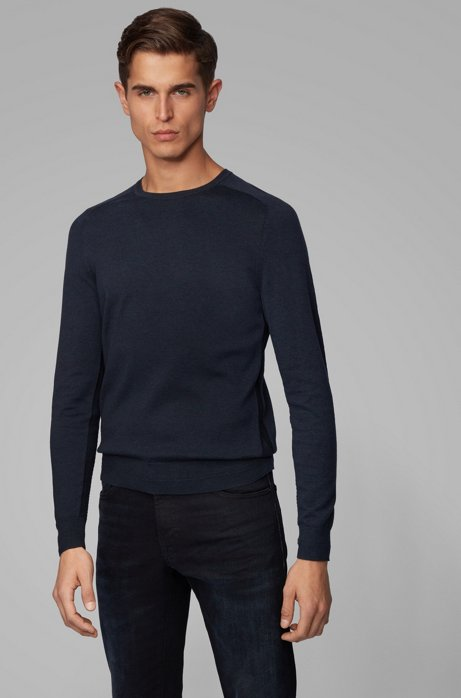 Pull Slim Fit en coton à surpiqûres inversées, Bleu foncé