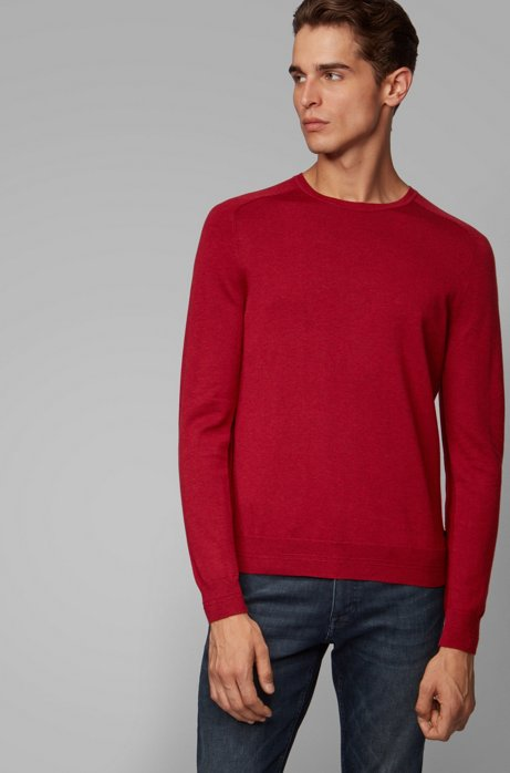 Slim-fit sweater in cotton with reverse-stitch details, Red