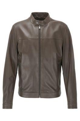 Regular-Fit Jacke aus Leder im Blouson-Stil, Dunkelbraun
