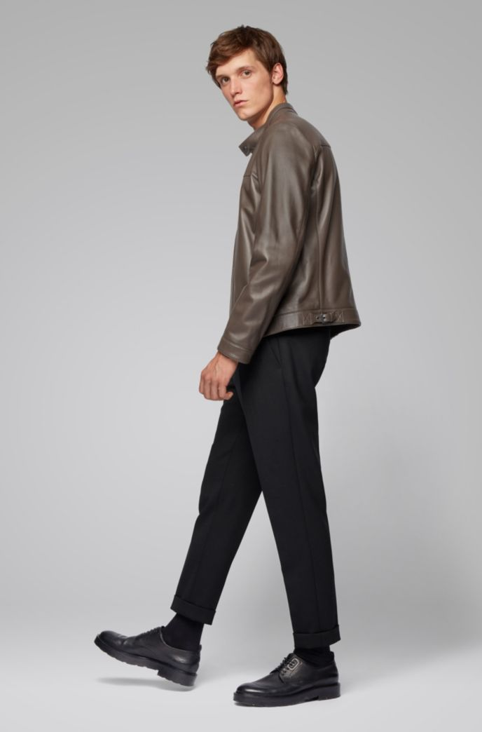 Regular-fit blouson-style jacket in lamb leather