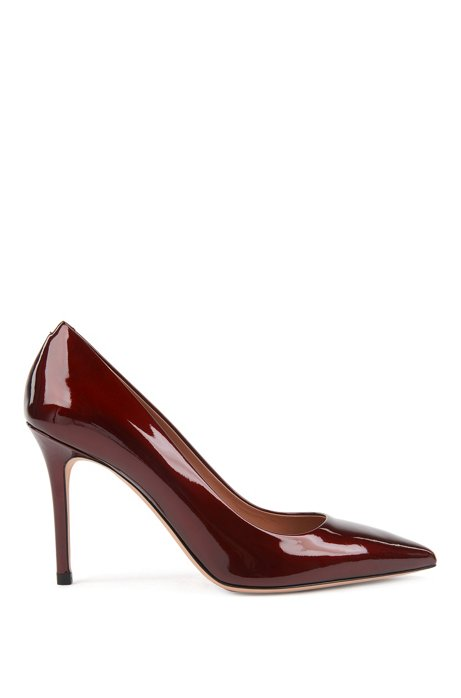 High-heeled pumps in pearlised patent leather, Dark Red