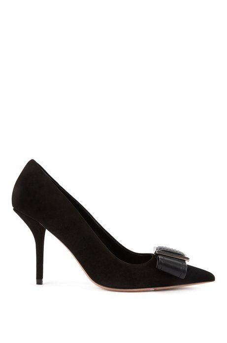 High-heeled pumps in Italian suede with buckle trim, Black