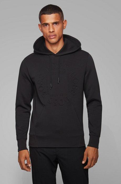 Regular-fit sweater met capuchon en cirkelvormig logo, Zwart