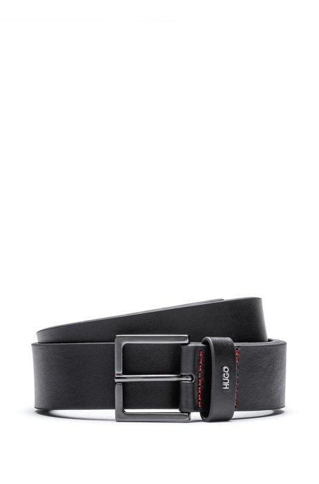 Ledergürtel mit Metall-Schließe und metallenem Logo-Schriftzug, Schwarz