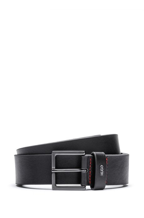 Leather belt with gunmetal buckle and metallic logo, Black