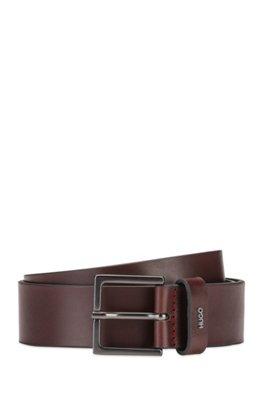 Leather belt with gunmetal buckle and metallic logo, Dark Brown