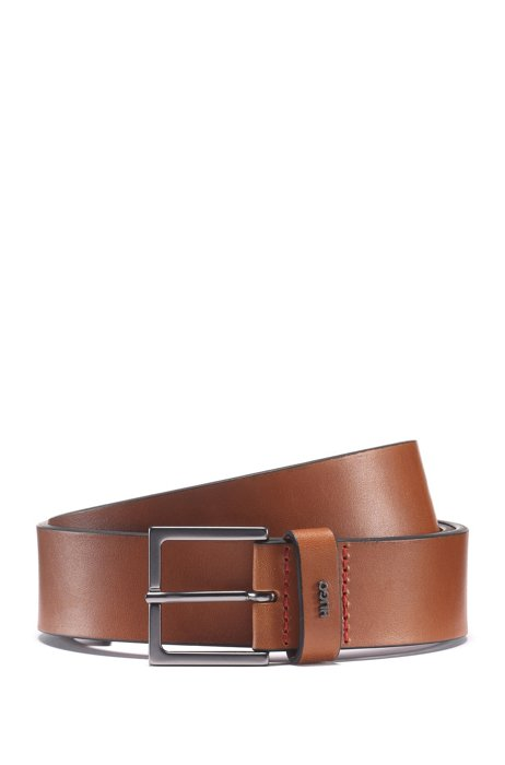 Leather belt with gunmetal buckle and metallic logo, Brown