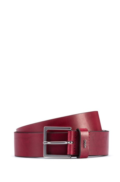 Leather belt with gunmetal buckle and metallic logo, Dark Red