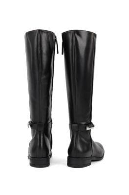 Kniehohe Charakteristischen Italienischem Mit Aus Leder Boots Metalldetails Nmn0v8w