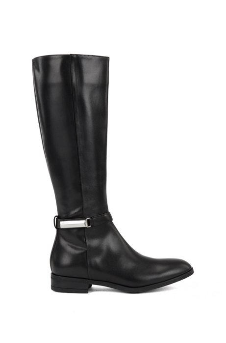 Knee-high boots in Italian leather with signature hardware, Black