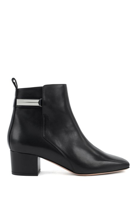 Heeled ankle boots in Italian leather with signature hardware, Black
