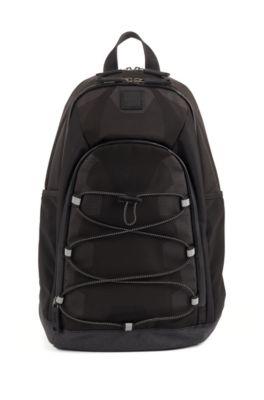 Rucksack aus Ripstop-Nylon mit mehreren Fächern, Schwarz