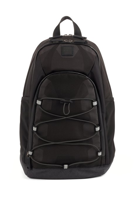 Multi-pocket backpack in mixed ripstop nylon, Black