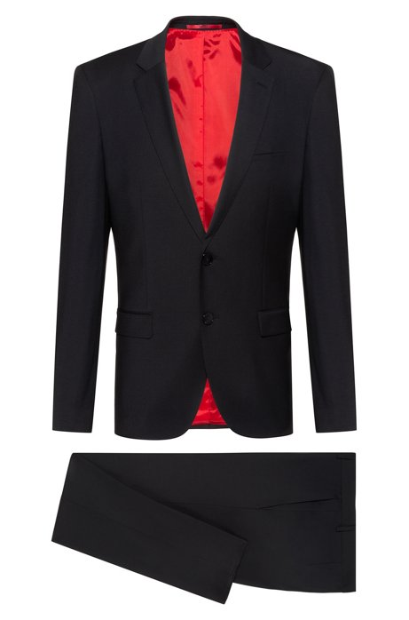 Extra-slim-fit suit in two-way stretch fabric, Black