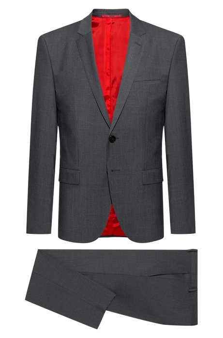 Extra-slim-fit suit in two-way stretch fabric, Dark Grey