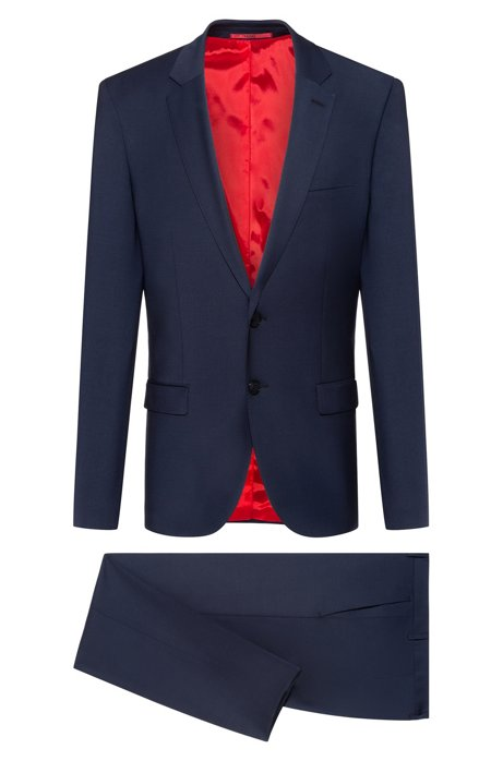Extra-slim-fit suit in two-way stretch fabric, Dark Blue