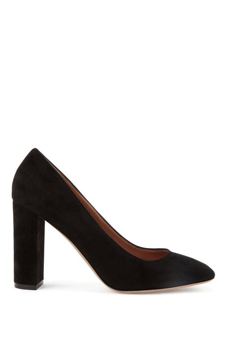 Block-heel pumps in Italian suede, Black