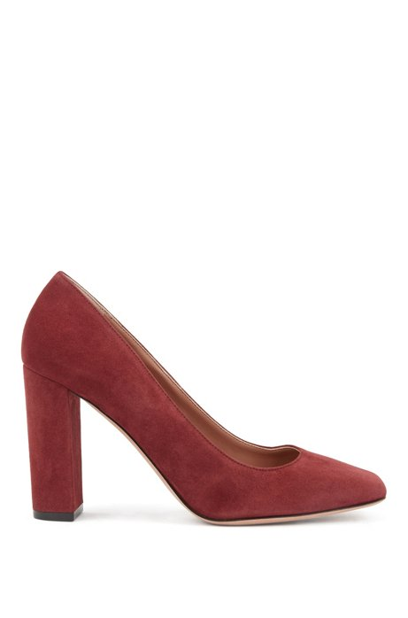 Block-heel pumps in Italian suede, Dark Red