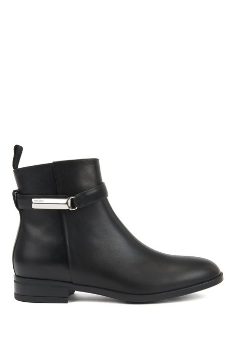 Ankle boots in Italian leather with signature hardware, Black