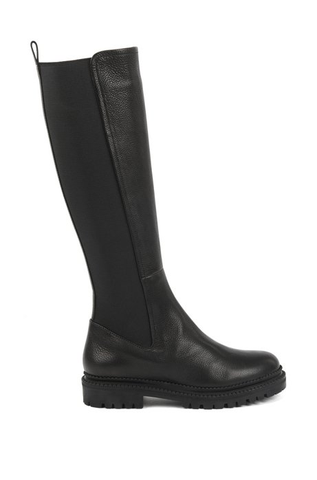 Knee-high boots in Italian leather with elasticated panels, Black
