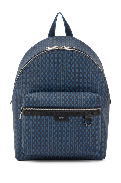 Monogram-print backpack in coated Italian fabric, Dark Blue