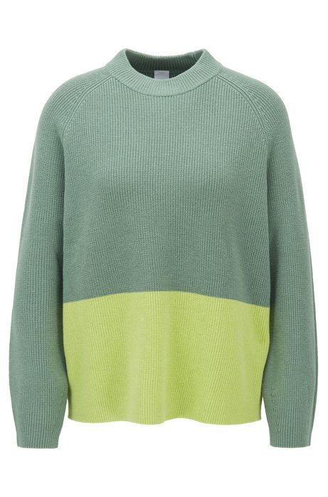 Relaxed fit sweater with colour-block detail, Light Green
