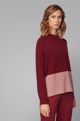 Relaxed fit sweater with colour-block detail, Red