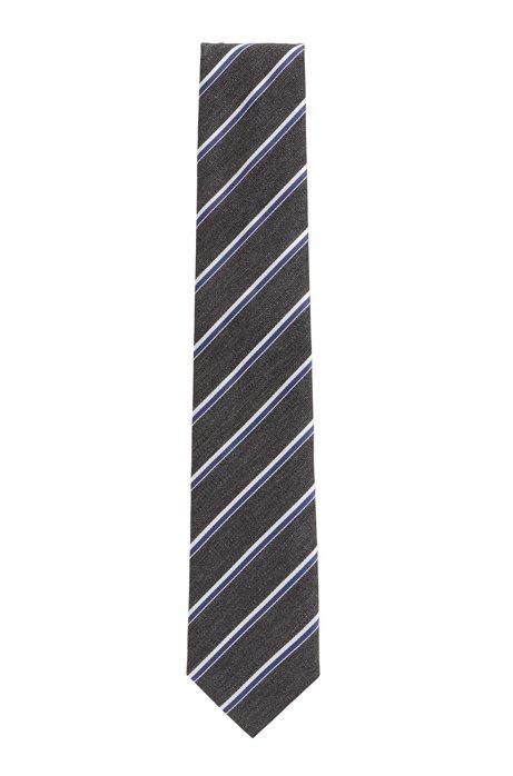 Krawatte aus Jacquard mit diagonalen Streifen, Hellgrau