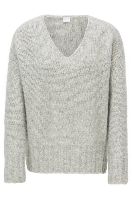 Relaxed-fit V-neck sweater with dropped shoulders, Light Grey