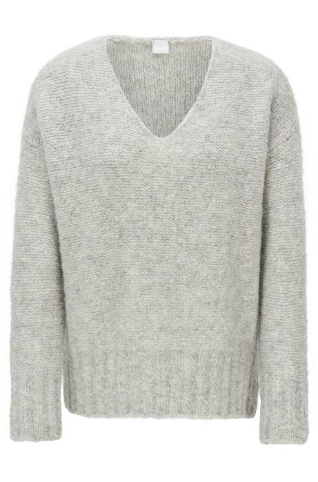 Pullover mit V-Ausschnitt und überschnittenen Schultern, Hellgrau