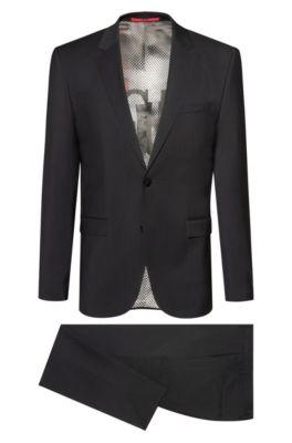 Extra slim-fit kostuum van scheerwol met collectievoering, Zwart