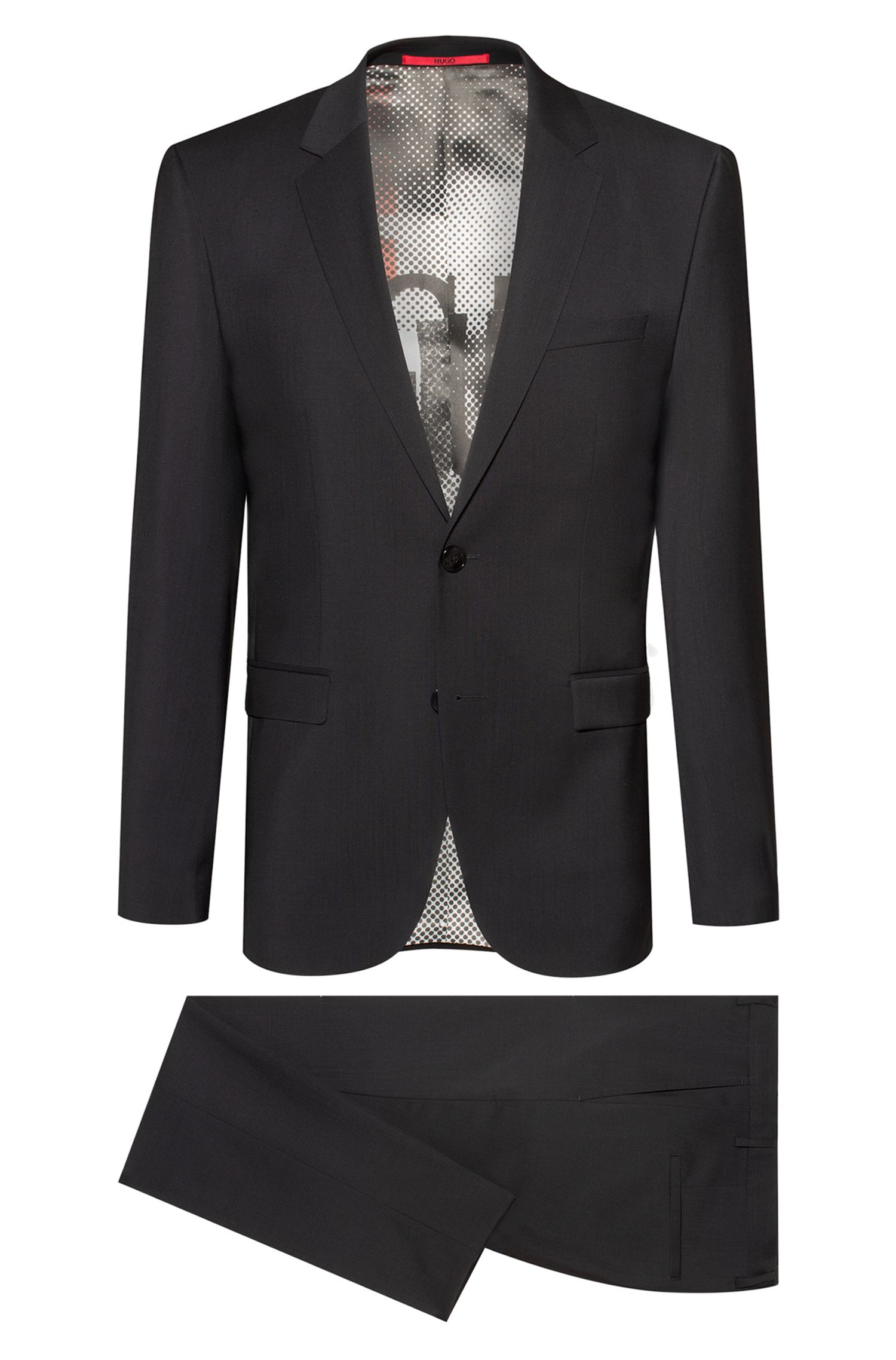 Extra-slim-fit virgin-wool suit with collection lining, Black