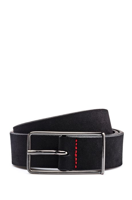 Italian-suede belt with extended buckle, Black