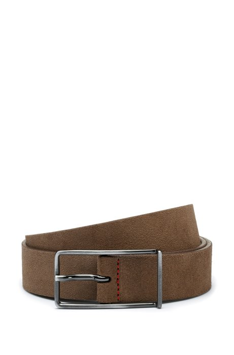 Italian-suede belt with extended buckle, Brown