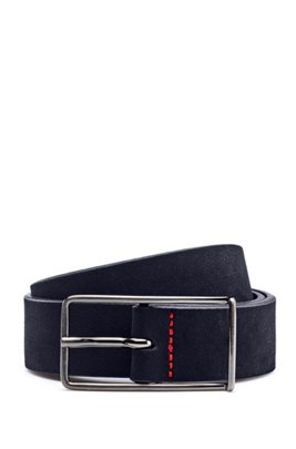 Italian-suede belt with extended buckle, Dark Blue
